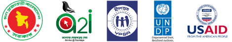 Logos of Bangladesh Government, A2I program, YPSA and U N D P.